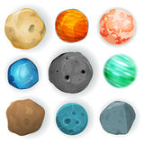 Planetas cómicos fijados stock de ilustración