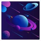 Planetas coloridos de la fantasía de la historieta fijados en fondo del espacio stock de ilustración