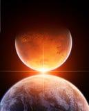 Planetas com estrela de aumentação ilustração royalty free