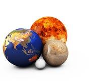 planetas 3D no fundo branco Fotos de Stock Royalty Free