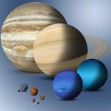 Planetas da comparação sem redução do sistema solar Imagens de Stock