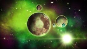 Planetas de la ciencia ficción con los satélites que circundan alrededor de ellos Fondo del espacio bucle libre illustration