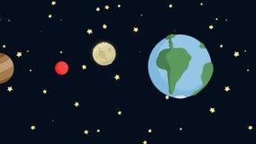 Planetas de la historieta animada en espacio libre illustration