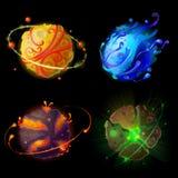 Planetas de la historieta del vector para el sistema del diseño de juego ilustración del vector