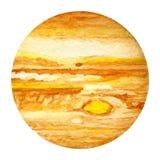 Planetas de la Sistema Solar - Júpiter Ilustración de la acuarela Imágenes de archivo libres de regalías