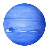 Planetas de la Sistema Solar - Neptuno Ilustración de la acuarela Foto de archivo