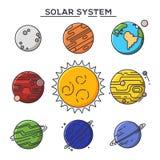 Planetas de Sun e do sistema solar Astronomia e cosmos ilustração do vetor