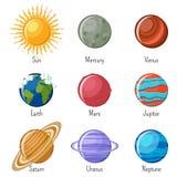 Planetas do sistema solar e o Sun com nomes Fotos de Stock Royalty Free