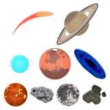 Planetas do sistema solar Objetos cósmicos Ícone dos planetas na coleção do grupo no estoque do símbolo do vetor do estilo dos de Fotos de Stock Royalty Free