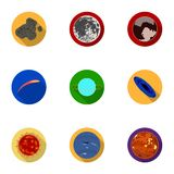 Planetas do sistema solar Objetos cósmicos Ícone dos planetas na coleção do grupo no estoque liso do símbolo do vetor do estilo Foto de Stock