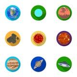 Planetas do sistema solar Objetos cósmicos Ícone dos planetas na coleção do grupo no estoque liso do símbolo do vetor do estilo Imagem de Stock
