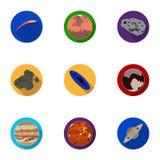 Planetas do sistema solar Objetos cósmicos Ícone dos planetas na coleção do grupo no estoque liso do símbolo do vetor do estilo Imagens de Stock