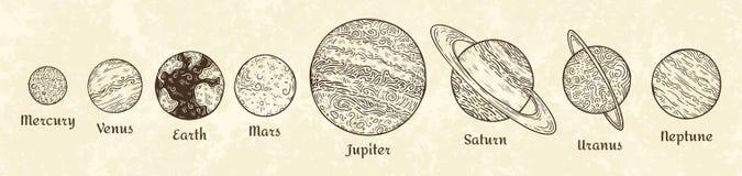 Planetas do sistema solar que gravam Parada celestial tirada mão do planeta Ilustração planetária do esboço do vetor do vintage ilustração royalty free