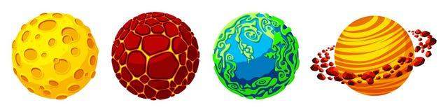 Planetas dos desenhos animados do vetor para o grupo do projeto de jogo ilustração stock