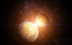 Planetas e com a estrela no fundo ilustração royalty free