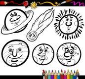 Planetas e esferas dos desenhos animados que colorem a página Imagem de Stock