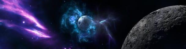 Planetas e galáxia, papel de parede da ficção científica ilustração do vetor