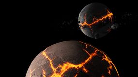 Planetas e galáxia, papel de parede da ficção científica Beleza do espaço profundo fotos de stock royalty free
