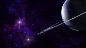 Planetas e galáxia, papel de parede da ficção científica Beleza do espaço profundo foto de stock