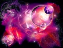 Planetas e nebulosa ilustração do vetor