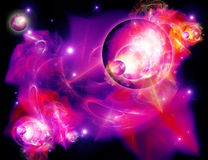 Planetas e nebulosa ilustração stock