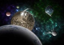 Planetas e nebulosa Imagens de Stock