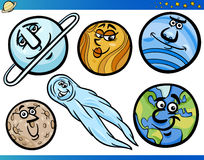 Planetas e personagens de banda desenhada das esferas ajustados Foto de Stock