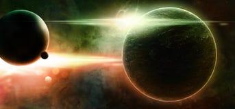 Planetas em um fundo estrelado Fotografia de Stock