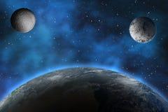 Planetas en el cielo nocturno ilustración del vector