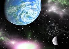 Planetas en un espacio.