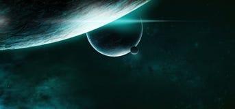 Planetas en un fondo estrellado