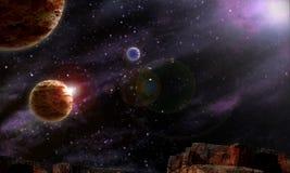Planetas estrelados do céu noturno do fundo Fotografia de Stock Royalty Free