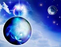 Planetas, estrelas e nuvens ilustração stock