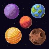 Planetas extranjeros de la historieta, lunas asteroides en fondo del espacio ilustración del vector