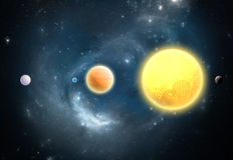 Planetas Extrasolar. Mundo exterior de nuestra Sistema Solar Foto de archivo