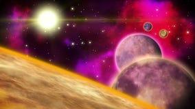 Planetas giratorios en el espacio profundo con las estrellas y las nebulosas del centelleo bucle ilustración del vector