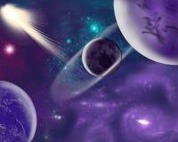 Planetas misteriosos en galaxias inexploradas y fascinadoras ilustración del vector