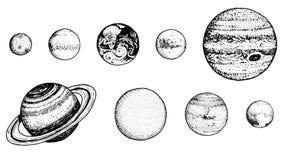 Planetas no sistema solar a lua e o sol, mercúrio e terra, estragam e venus, jupiter ou Saturno e pluto astronômico ilustração royalty free