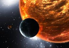 Planetas o exoplanets Extrasolar y supergigante rojo del enano o rojo Fotos de archivo libres de regalías