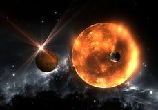 Planetas o exoplanets Extrasolar y supergigante rojo del enano o rojo Fotos de archivo