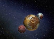 Planetas oxidados no espaço fotografia de stock