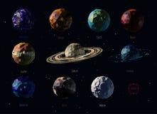 Planetas poligonales stock de ilustración