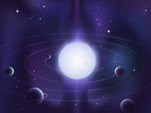 Planetas que se mueven en órbita alrededor alrededor de una estrella blanca brillante Fotografía de archivo libre de regalías