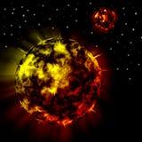 Planetas rojos del fuego en fondo del universo Fotografía de archivo