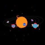 Planetas sob a forma das casas e das caras engraçadas, na órbita ao redor Ilustração Royalty Free