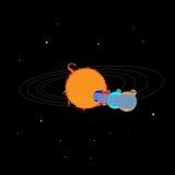 Planetas sob a forma das casas, na órbita em torno do Sun Ilustração Stock