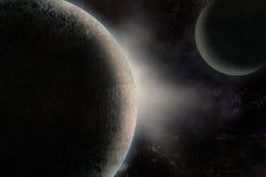 Planetas sobre la nebulosa Foto de archivo libre de regalías
