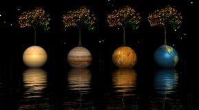 Planetas y árboles ilustración del vector