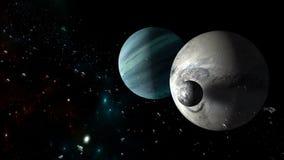 Planetas y galaxia, papel pintado de la ciencia ficción Belleza del espacio profundo ilustración del vector