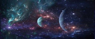 Planetas y galaxias, papel pintado de la ciencia ficción Belleza del espacio profundo stock de ilustración